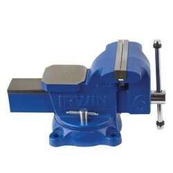 Irwin 6 in. Steel Workshop Bench Vise Swivel Base