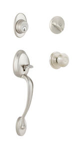 Schlage  Plymouth, Georgian  Satin Nickel  Steel  Handleset  1 Grade Right or Left Handed