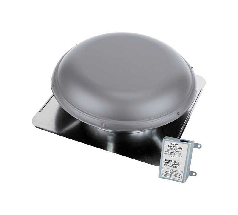 Air Vent  26 in. H x 9 in. W x 14 in. Dia. x 26 in. L Gray  Steel  Power Roof Ventilator