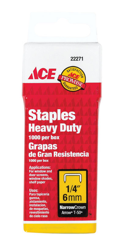 Ace  1/4 in. L Galvanized Steel  Narrow Crown  1000  Heavy Duty Staples