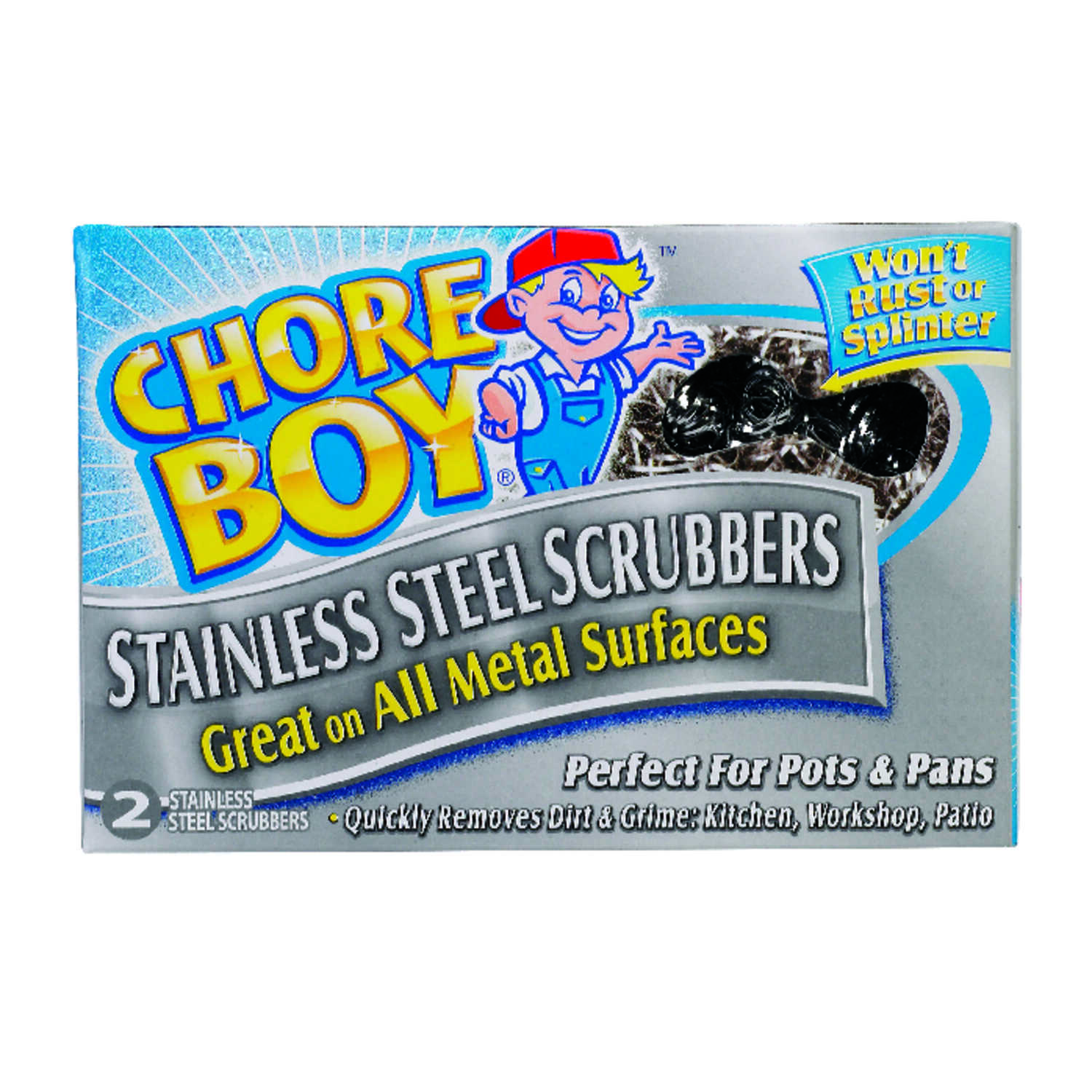 Chore Boy  Heavy Duty  For All Metal Surfaces Scrubber  1-7/16 in. L 2 pk