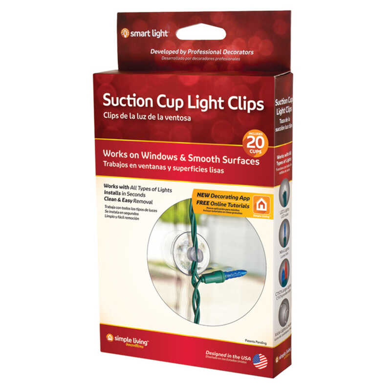 Simple Living  Smart Light  Suction Cup Light Clips  Clear  20 pk PVC