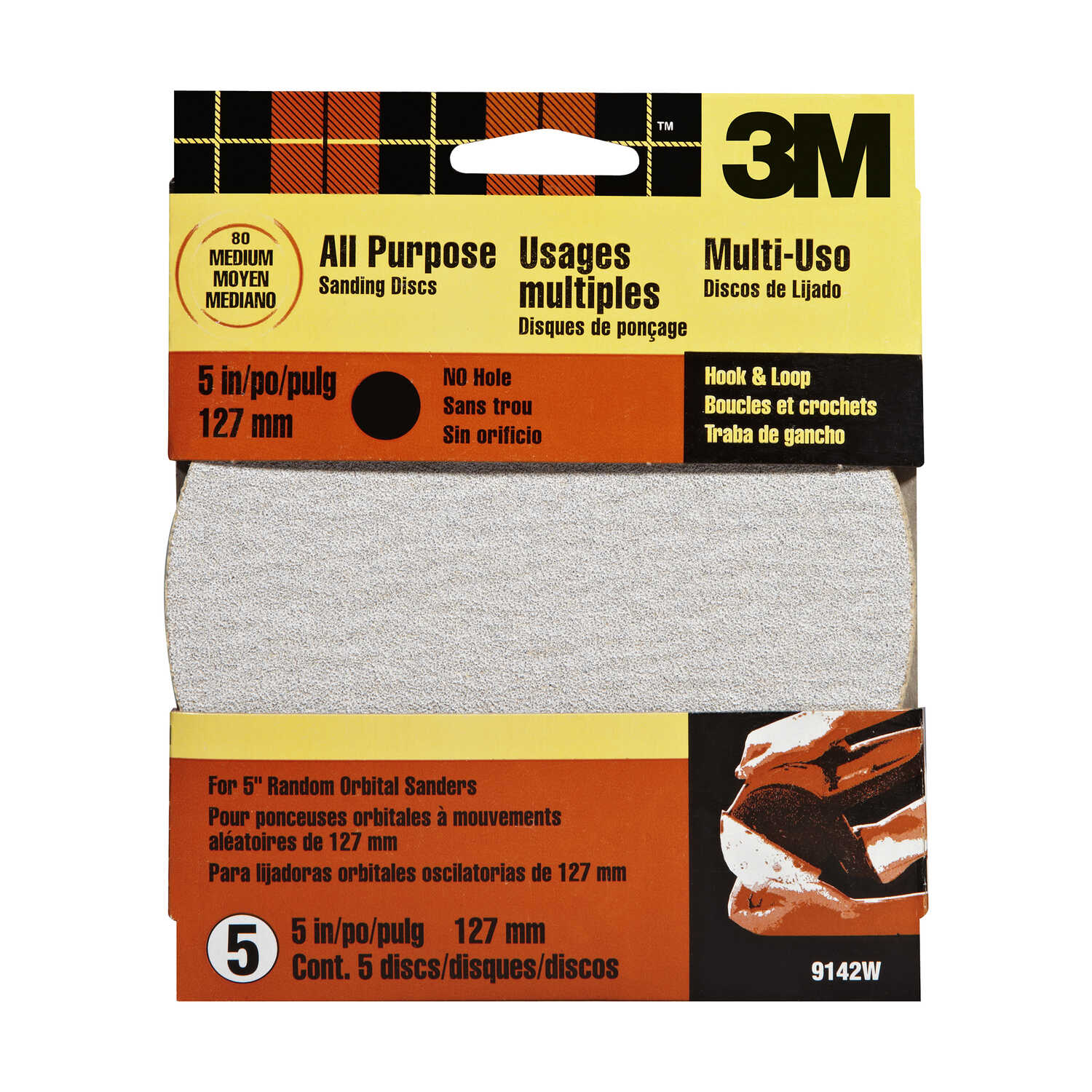 3M  Aluminum Oxide  Hook and Loop  Sanding Disc  80 Grit 5 pk 5 in.