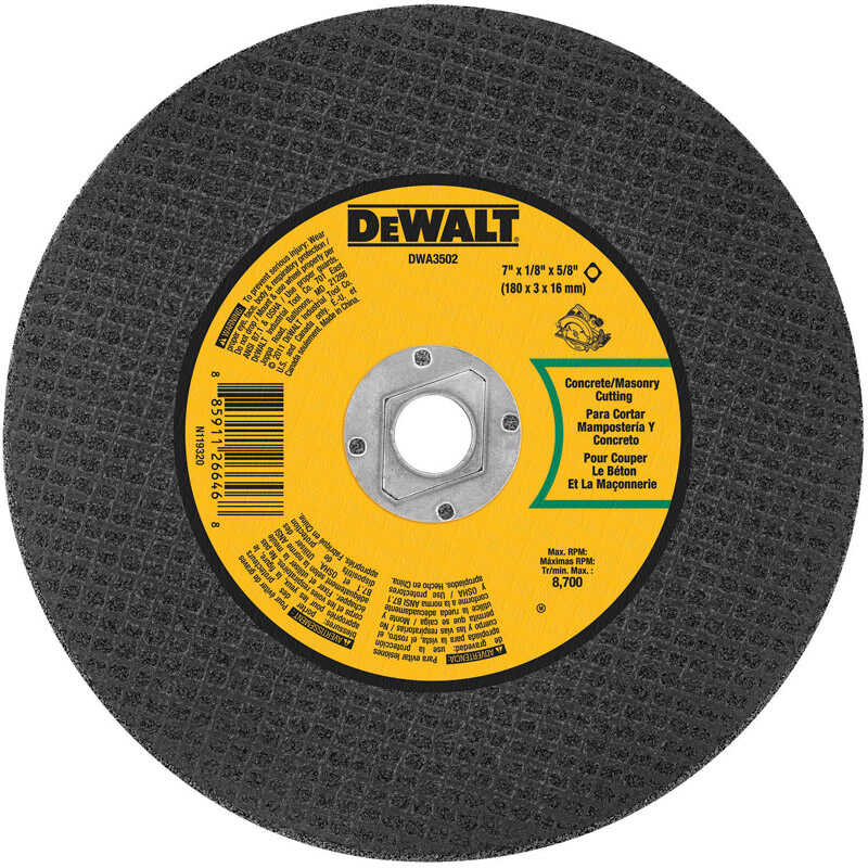 DeWalt  High Performance  7 in. 5/8 in. in.  Aluminum Oxide  Masonry Cutting Saw Blade  1 pc.