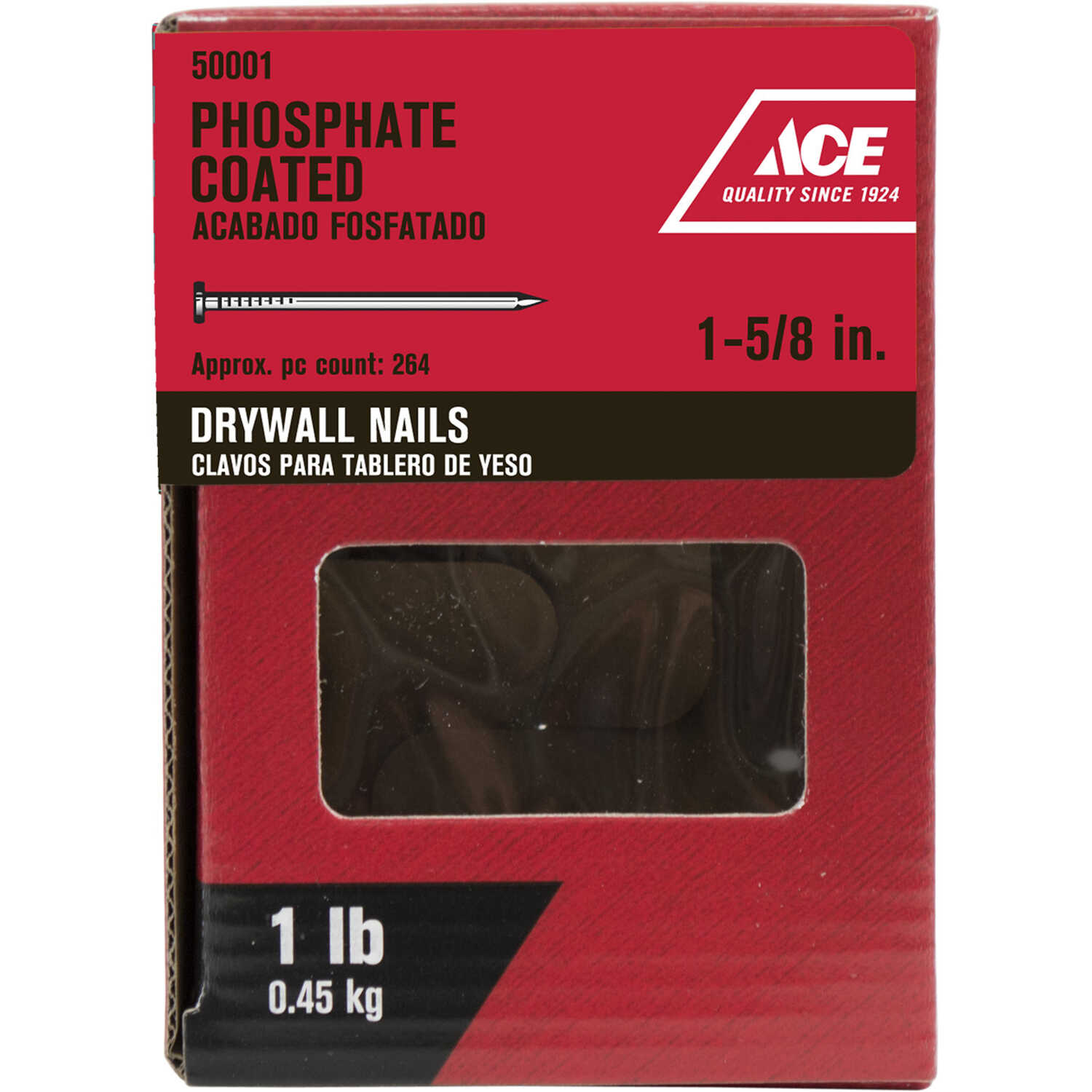 Ace  1-5/8 in. L Drywall  Phosphate-Coated  Steel  Nail  Smooth Shank  Cupped  1 lb.
