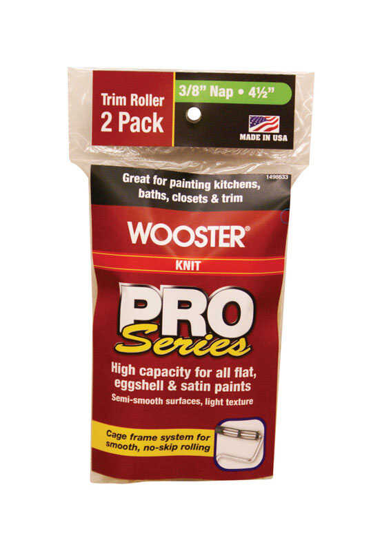 Wooster  Pro Series  Knit  3/8 in.  x 4-1/2 in. W Paint Roller Cover  For Medium Surfaces 2 pk Trim