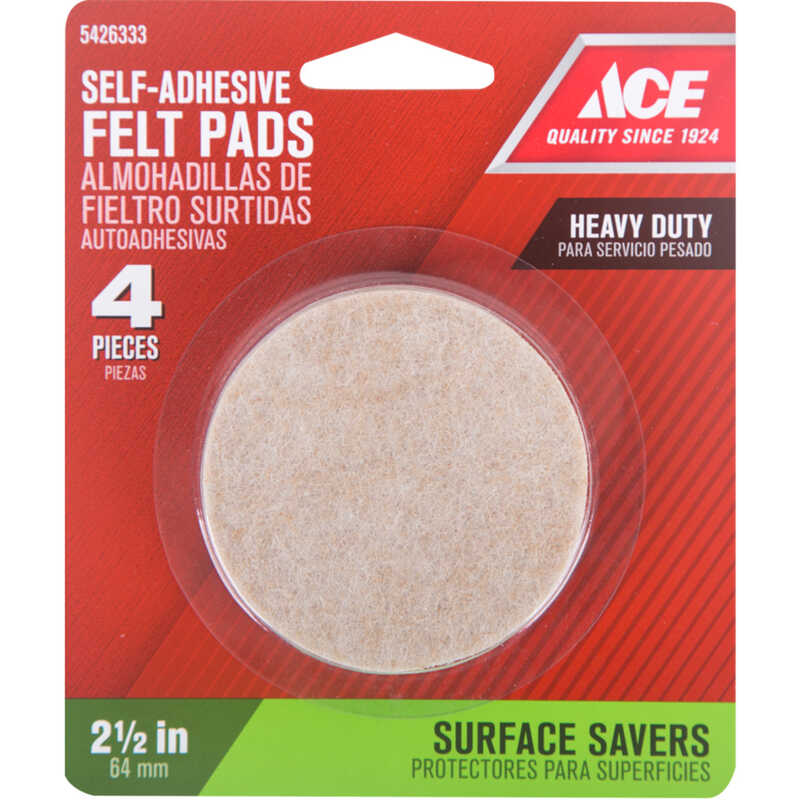 Ace  Felt  Pad  Brown  2-1/2 in. W Round  Self Adhesive 4 pk