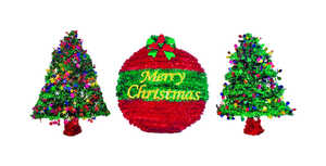 FC Young  Tinsel Ornament and Tree  Christmas Decoration  3 pc. Resin  Multicolored