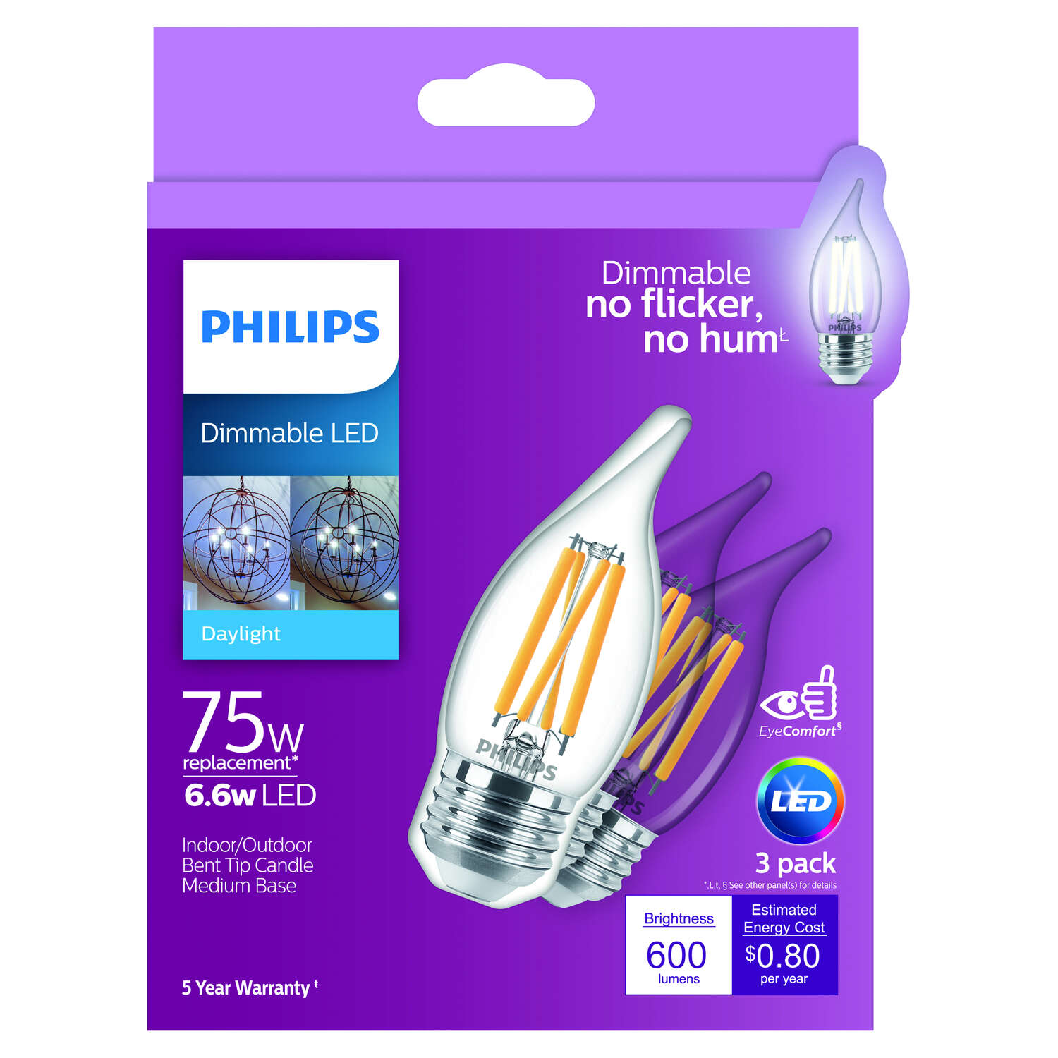 Philips  BA11  E26 (Medium)  LED Bulb  Daylight  75 Watt Equivalence 3 pk