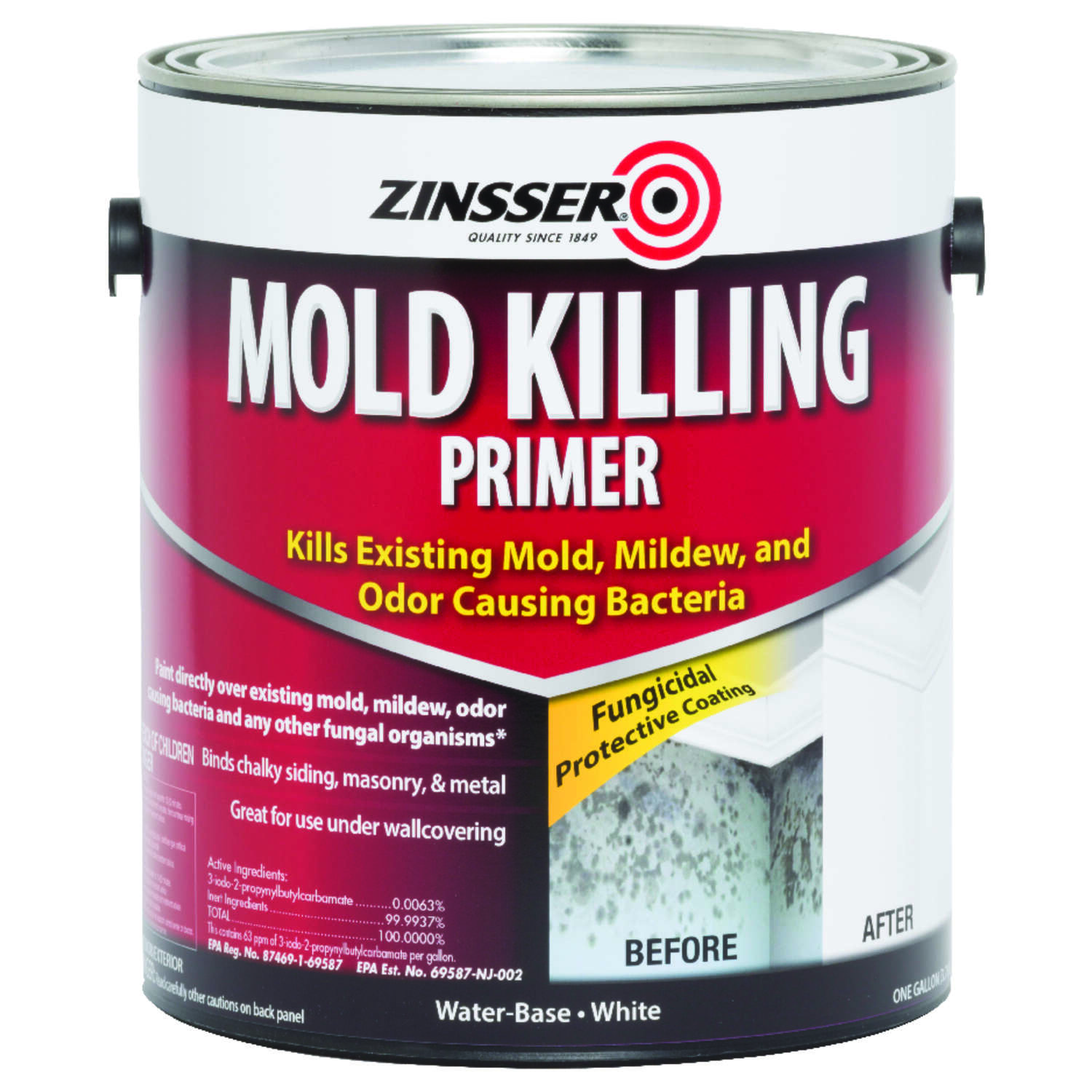 Zinsser  White  Water-Based  Acrylic  Mold Killing Primer  1 gal.