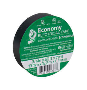 Duck Brand  3/4 in. W x 60 ft. L Black  Vinyl  Electrical Tape