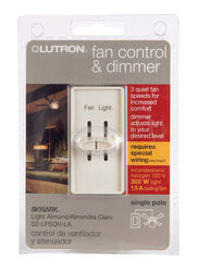 Lutron  Skylark  Single pole  Slide  Fan Control  Light Almond  1 pk