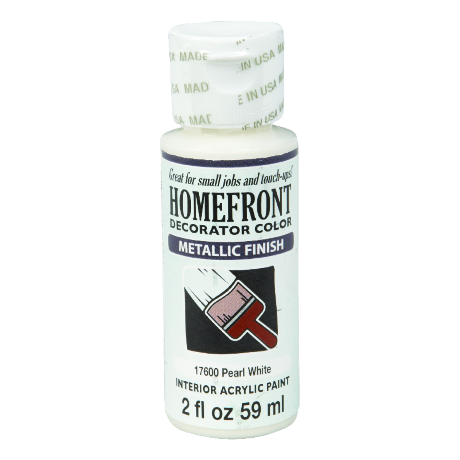 Homefront  Decorator Color  Metallic  Acrylic Latex  Hobby Paint  2 oz. Pearl White