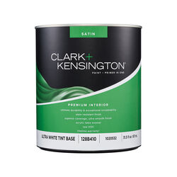 Clark+Kensington Satin Tint Base Ultra White Base Premium Paint Interior 1 qt.