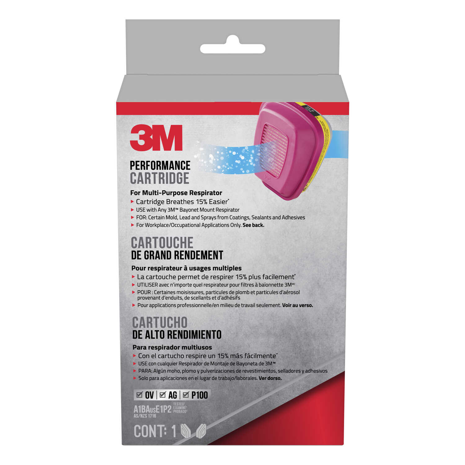 3M  P100  Replacement Cartridge  Gray  2 pc.