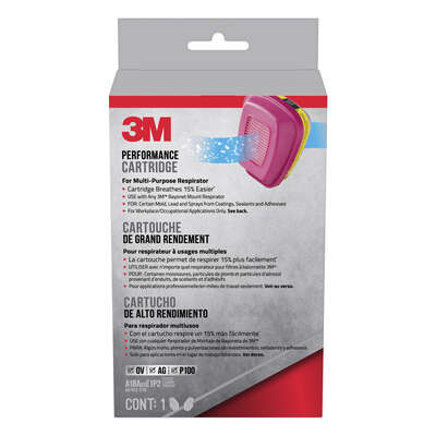 3M  P100  Acid Gas and Organic Vapor  Respirator Cartridge Replacement  Pink  2 pc.