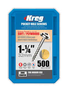Kreg Tool  No. 8   x 1-1/4 in. L Square  Zinc-Plated  Steel  Pocket-Hole Screw  500 pk Washer Head