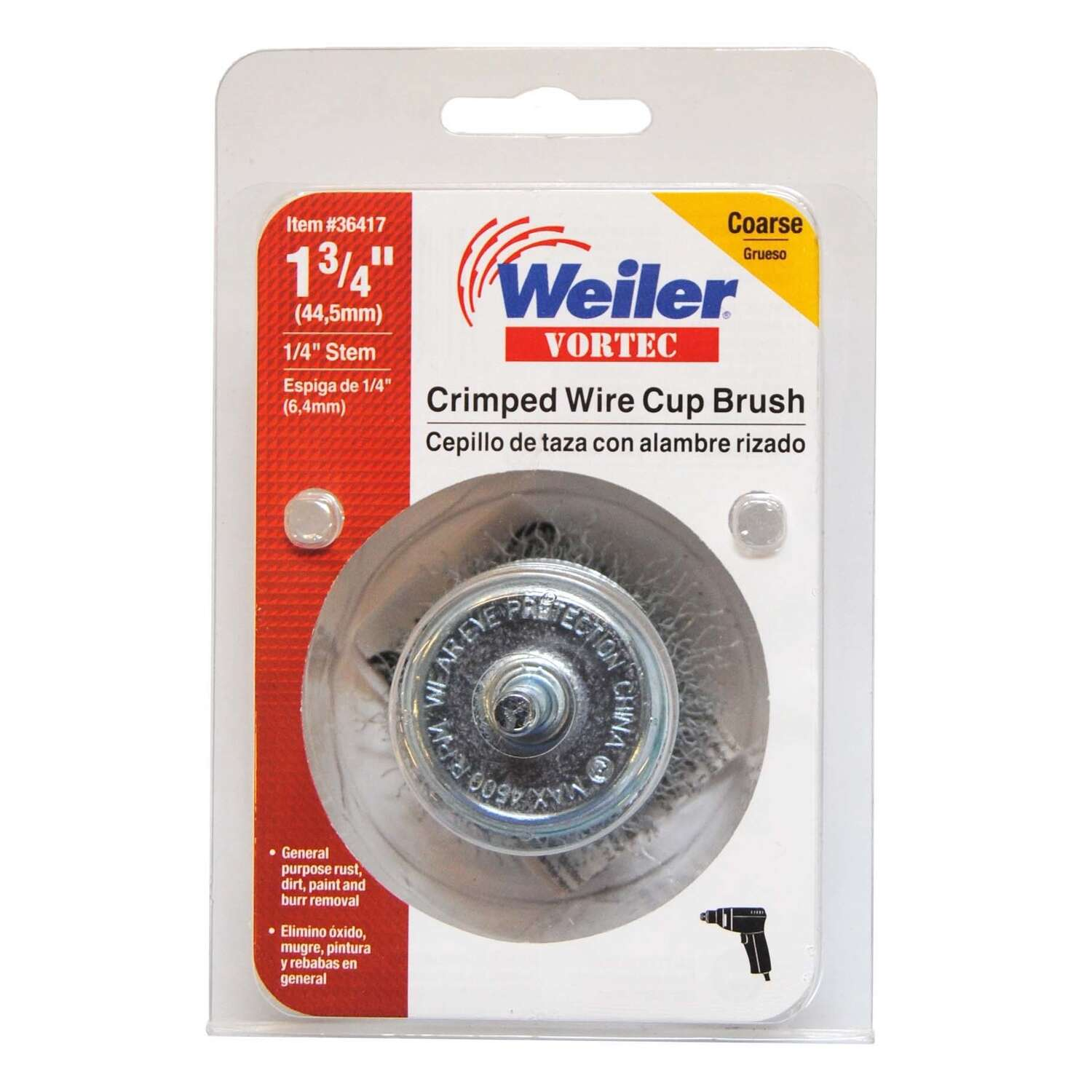 Weiler  Vortec  1-3/4 in. Dia. x 1/4 in.  Coarse  Steel  Crimped Wire Cup Brush  4500 rpm 1 pc.