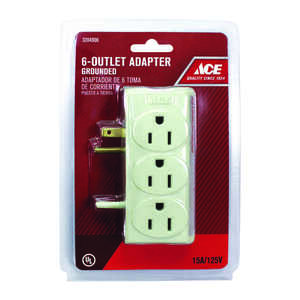 Ace  Grounded  6  6-Outlet Adapter  Surge Protection 1 pk