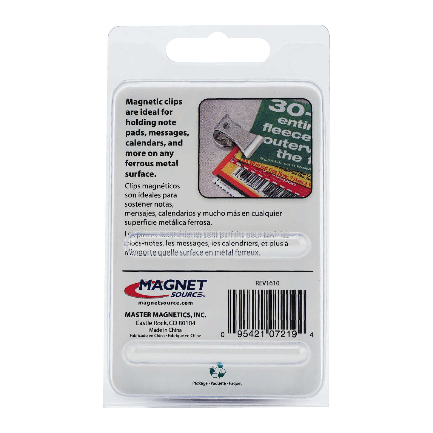 Master Magnetics  The Magnet Source  1.8 in. Ceramic  Magnetic Clips  Clip  3.4 MGOe 3 lb. pull 2 pc