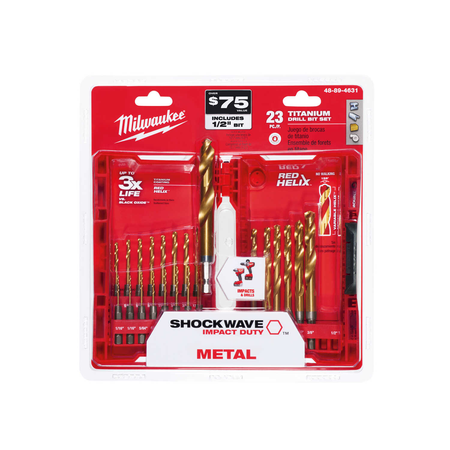 Milwaukee  SHOCKWAVE  Assorted  Dia. x Multi Size in. L RED HELIX  Titanium  1/4 in. 23 pc. Quick-Ch