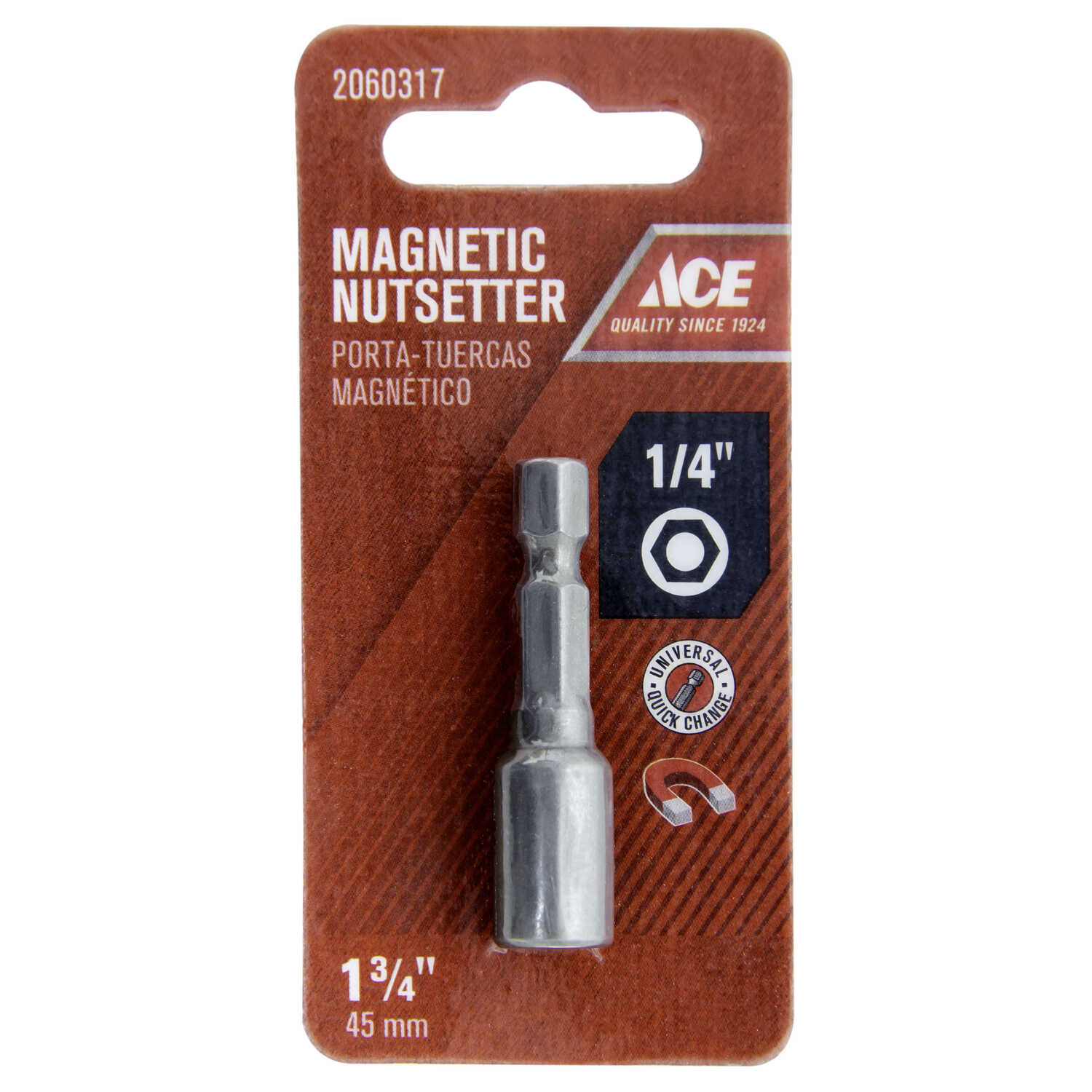 Ace  1/4 in. drive  x 1-3/4 in. L Chrome Vanadium Steel  Magnetic Nut Setter  1/4 in. Quick-Change H