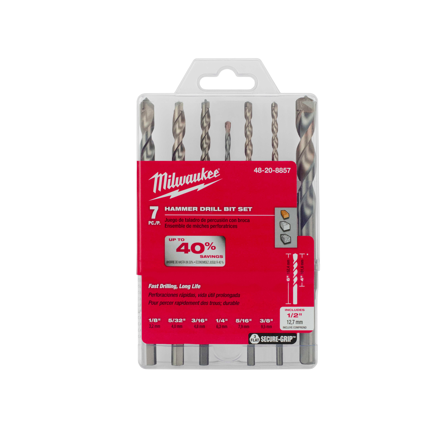 Milwaukee  Secure-Grip  Assorted  Dia. x 6 in. L 1/2 in. Hammer Drill Bit Set  7 pc. Carbide Tipped