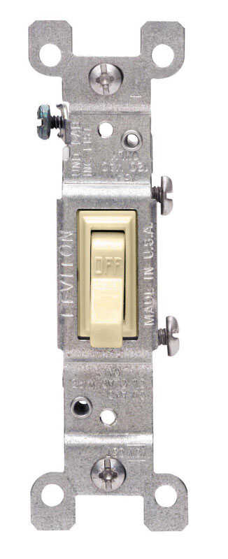 Leviton  15 amps Toggle  15 amps 1 pk Ivory  Switch