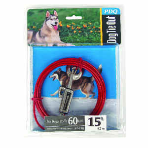 Boss Pet  PDQ  Red  Tie-Out with Spring  Vinyl Coated Cable  Dog  Tie Out  Large