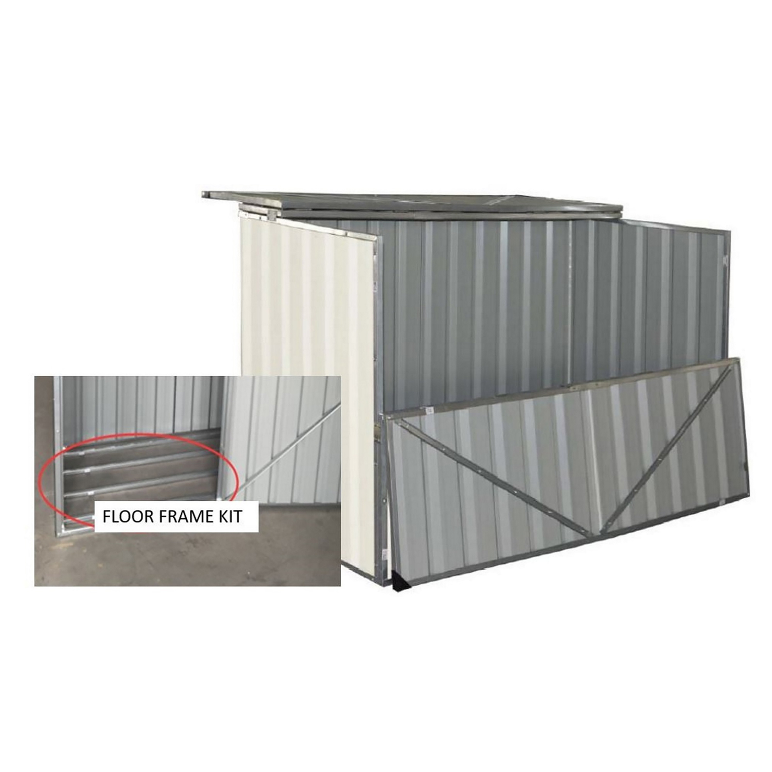 Build-Well  42 in. H x 50 in. W x 36 in. D Steel  Outdoor Storage Shed  Cream