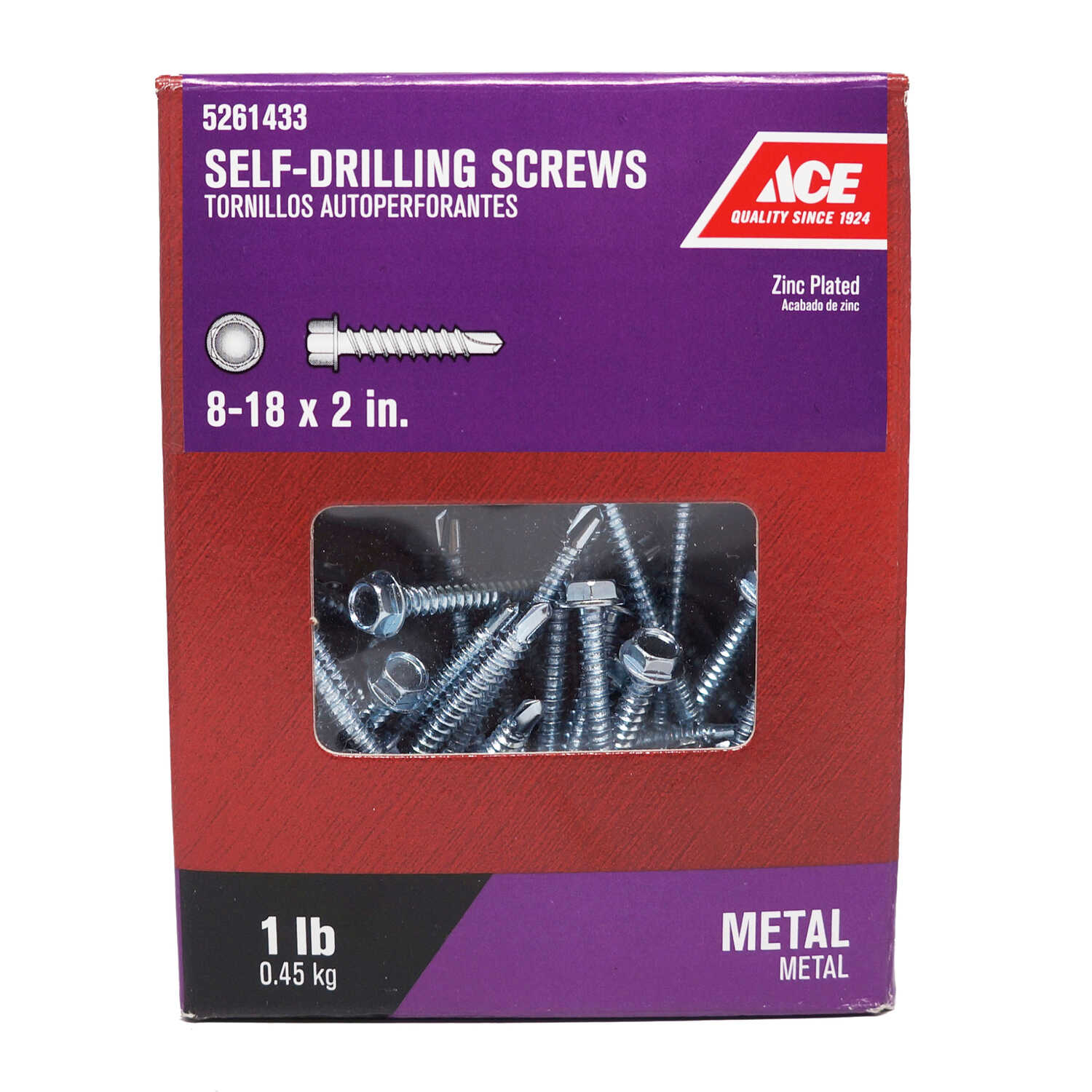 Ace  8-18 Sizes  x 2 in. L Hex Washer Head Zinc-Plated  Steel  Self- Drilling Screws  1 lb.