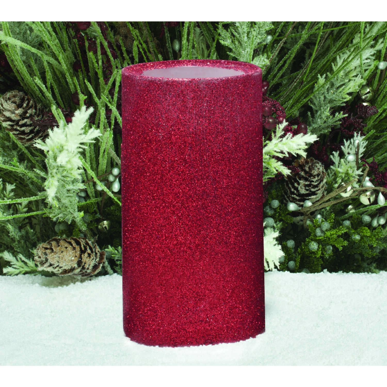 Inglow  No Scent Red  Pillar  Candle  7 in. H x 3 in. Dia.
