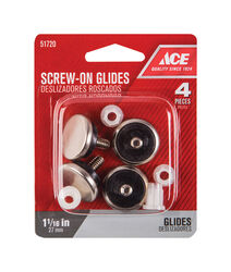 Ace Silver 1-1/16 in. Screw-On Nickel Chair Glide 4 pk
