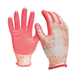 Digz  Pink  Women's  L  Nitrile Coated  Gardening Gloves