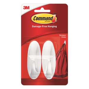 3M  Command  Medium  Plastic  3-1/8 in. L 2 pk Hook
