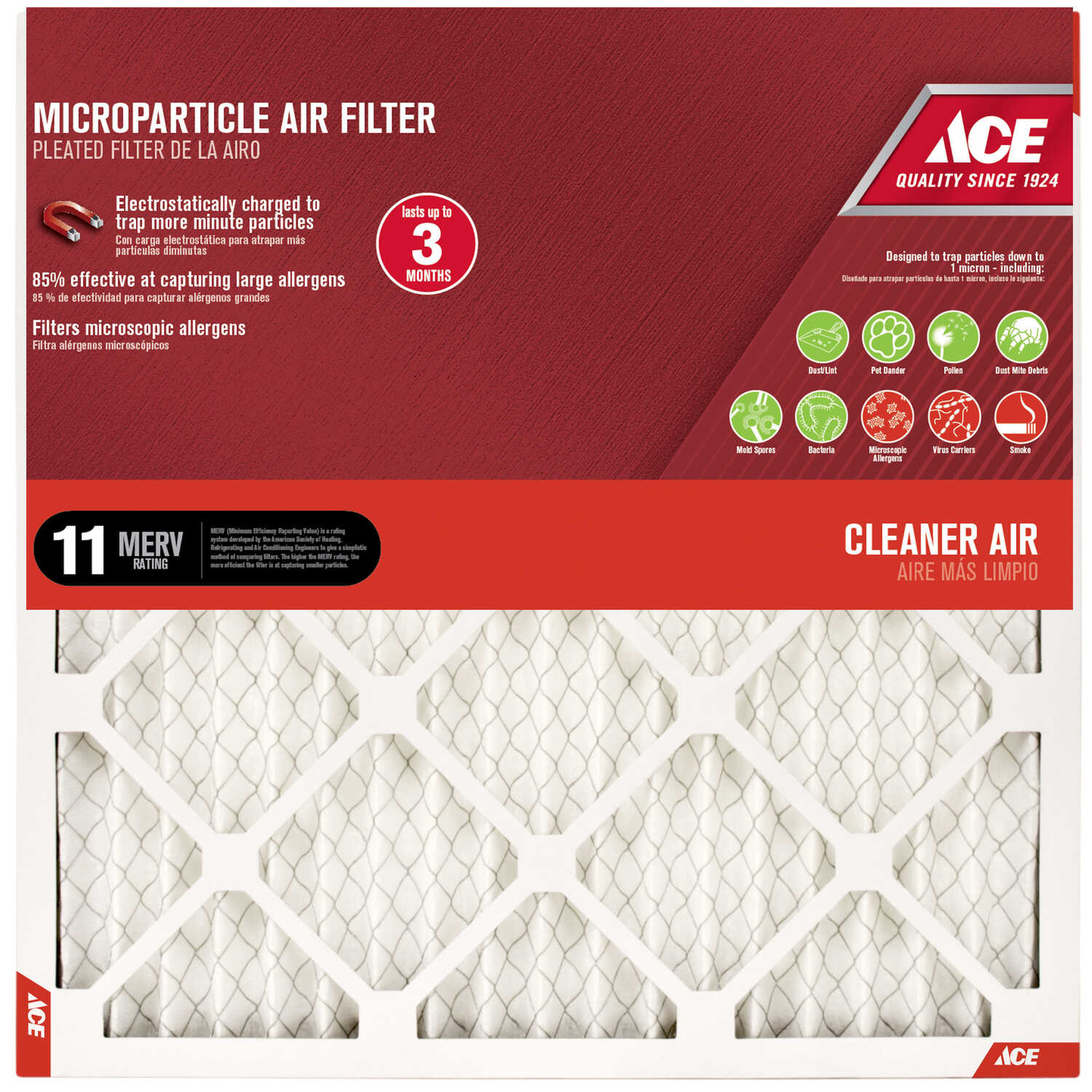 Ace  20 in. H x 12 in. W x 1 in. D Pleated  10 MERV Microparticle Air Filter