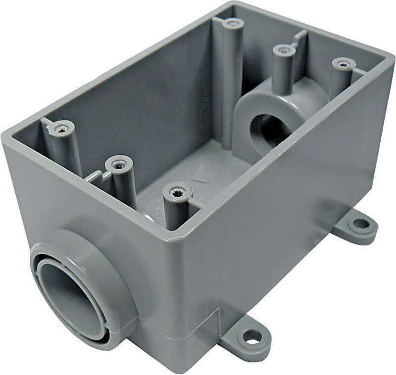 Cantex  2-3/4 in. Rectangle  PVC  1 gang Outlet Box  Gray