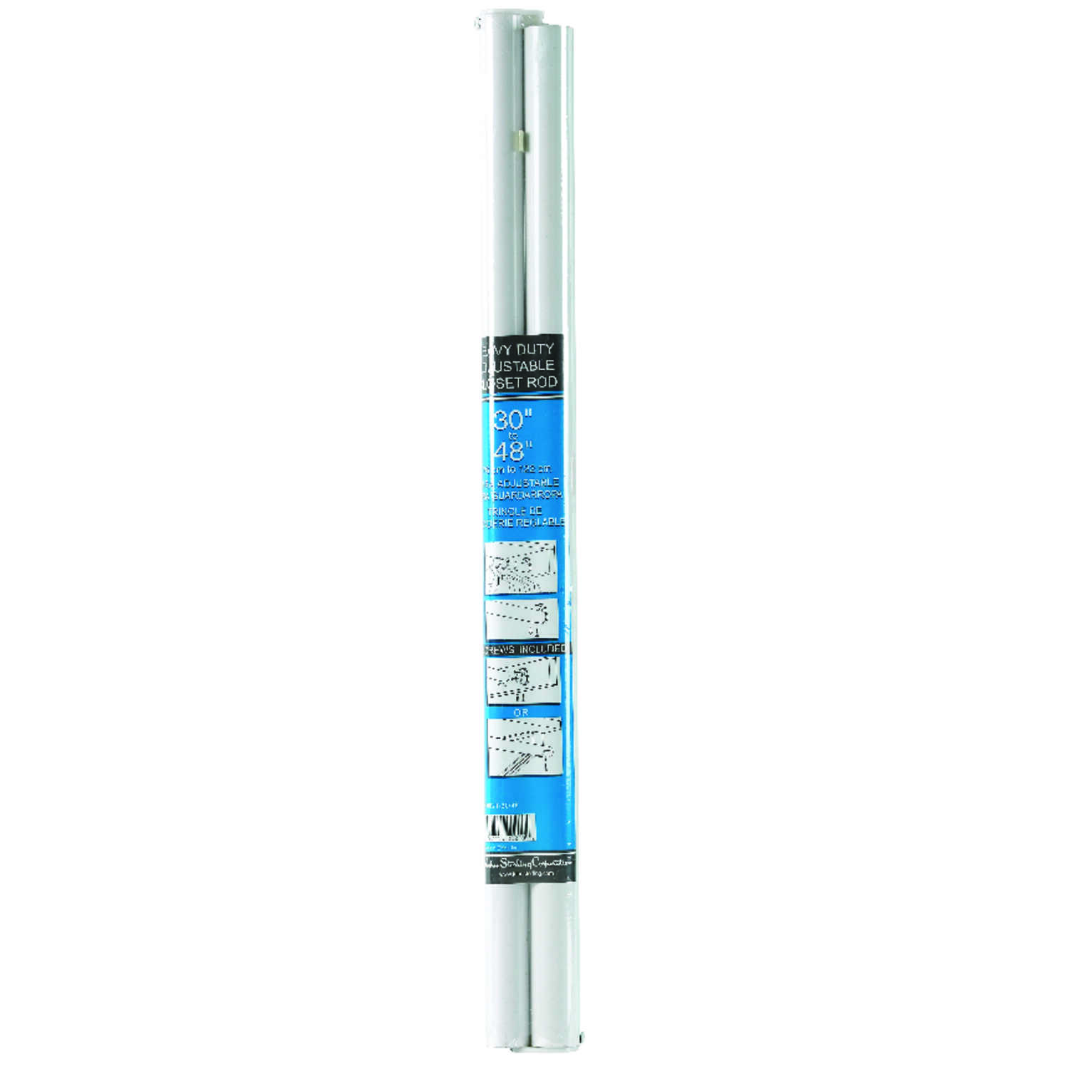 John Sterling  Pro  48 in. L x 1-1/4 in. Dia. Adjustable White  Steel  Closet Rod