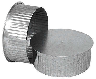 Imperial  7 in. Dia. Galvanized steel  Crimped  Pipe End Cap