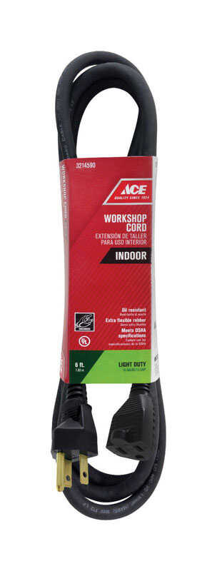 Ace  Indoor  Black  Extension Cord  16/3 SJO  6 ft. L