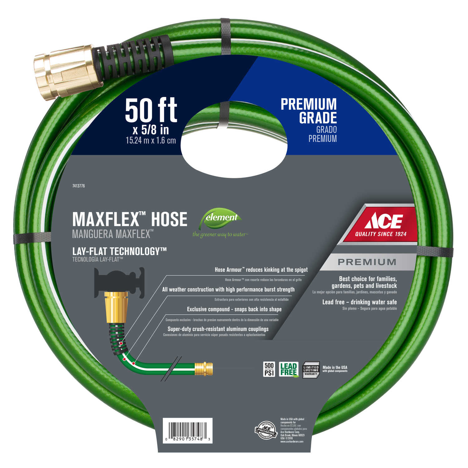 Ace  5/8 in. Dia. x 50 ft. L Premium Grade  Green  Nylon  Hose