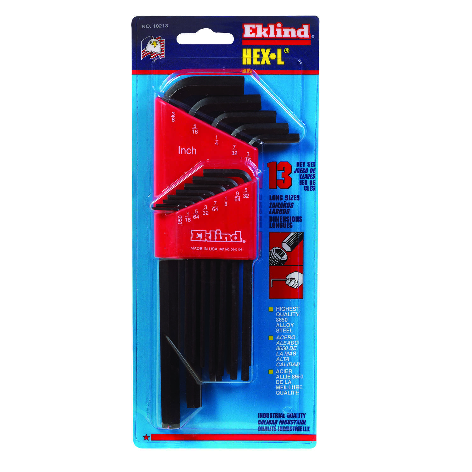 Eklind Tool Hex-L .050 to 3/8 SAE Long Arm Hex L-Key Set Multi-Size in. 13 pc.