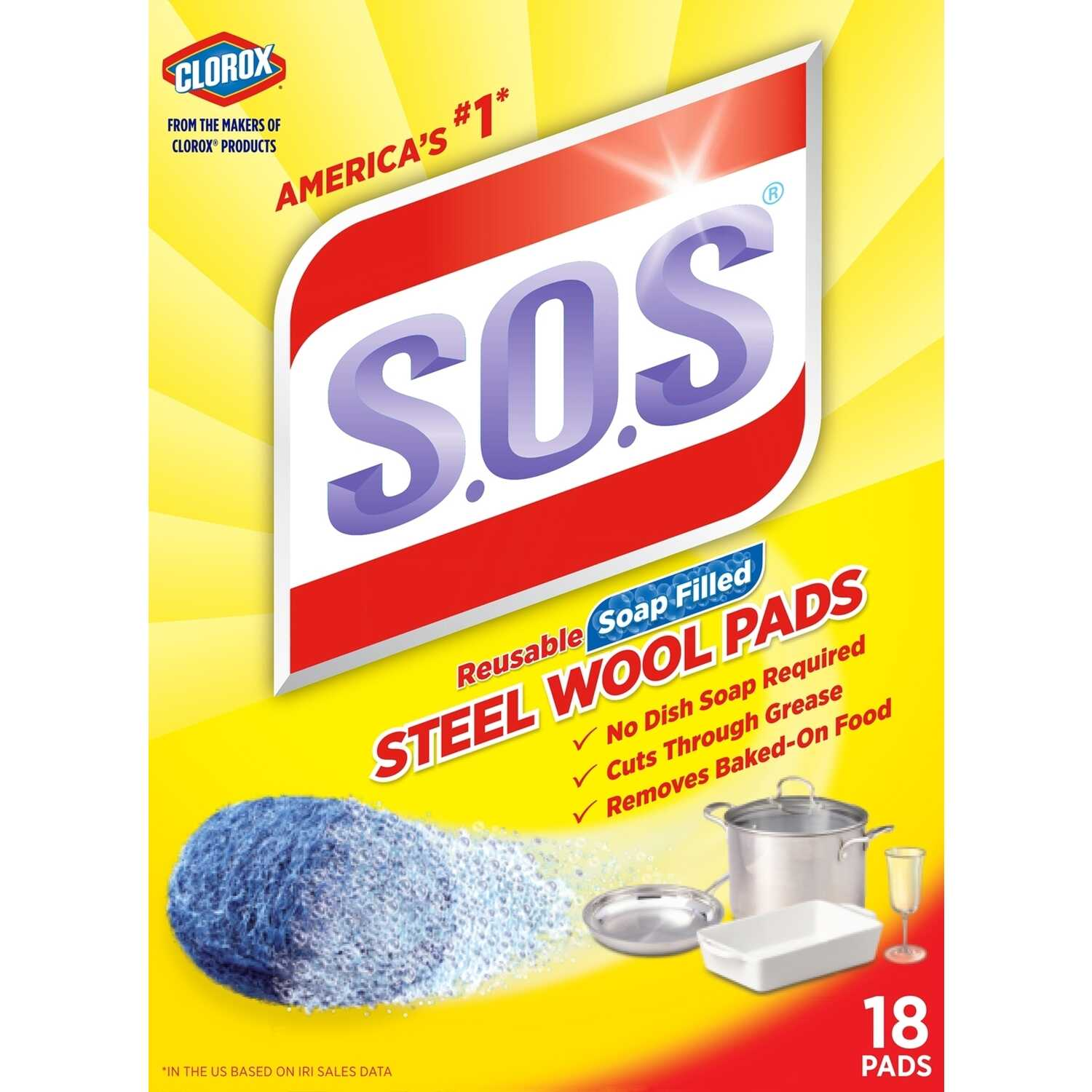 S.O.S.  Heavy Duty  For Multi-Purpose Steel Wool Pads  18 pk