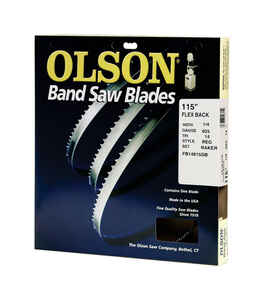 Olson  115 in. L x 1/4 in. W x 0.025 in. thick  Carbon Steel  Band Saw Blade  14 TPI Regular teeth 1