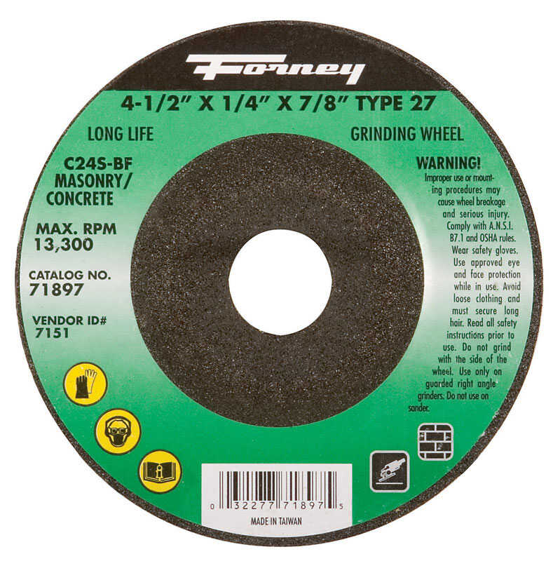 Forney  4-1/2 in. Dia. x 1/4 in. thick  x 7/8 in.   Silicon Carbide  Masonry Grinding Wheel  13300 r
