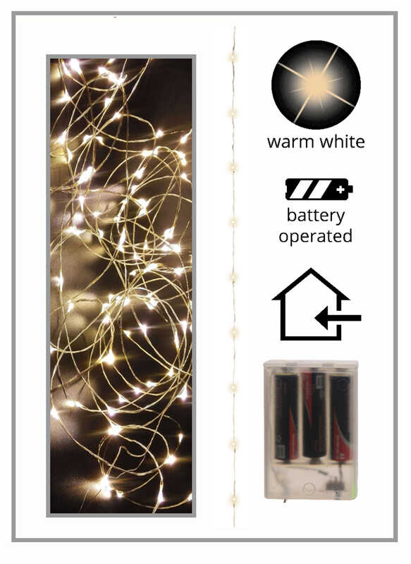Celebrations  LED  Battery Operated  Micro Light Set  Warm White  5 ft. 30 lights