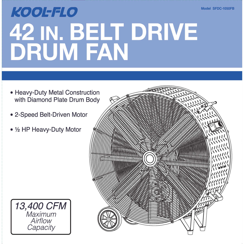 KOOL-FLO 48 88 in  H x 42 in  Dia  2 speed Electric Drum Fan