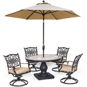 Hanover  Monaco  5 pc. Oil Rubbed Bronze  Aluminum  Patio Set  Tan