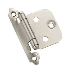 Amerock  1-13/16 in. W x 2-3/4 in. L Satin Nickel  Steel  Self-Closing Hinge  10 pk