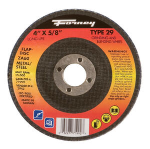 Forney  4 in. Dia. x 5/8 in.  Zirconia Aluminum Oxide  Flap Disc  60 Grit Fine  15200 rpm 1 pc.
